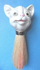 Rare Vintage Porcelain Cat Head Half Doll Vanity Brush