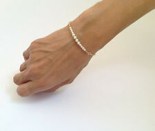 New Girls Ladies Fashion Elegant Simple Pearl Bead Golden Chain Bracelet Bangle