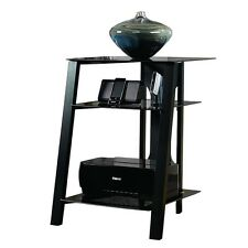Sauder Furniture Mirage Technology Pier w/ Tempered Glass Top, Black | SF-411971