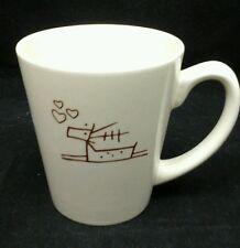 """Dancing Deer Baking Co Coffee Ceramic Mug Cup Beige Brown Hearts 3 7/8"""" Tall"""