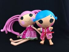 Two Pre-Owned Lala Loopsy Play Dolls Hard Vinyl Large Pink Small Blue Hair