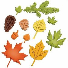 SPELLBINDERS SHAPEABILITIES FALL FOLIAGE LEAVES ACORN PINECONES 11 DIE SET - NEW