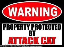 Attack Cat Funny Warning Sign Bumper Sticker Decal DZ WS501