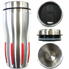 Silver/Red - Double Wall Stainless Steel Insulated Thermos Coffee Cup Travel Mug