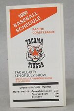 1980 TACOMA TIGERS PCL Pacific Coast League pocket sked schedule