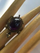 R11 antique STERLING/14k AMETHYST RING size 7 figural TURTLE Japan c. 1900