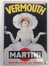 Martini Vermouth Lady In White miniature metal sign / postcard   (hi)