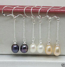 3pairs 7-8mm white pink black Real Natural pearl silver Hook Earrings AA
