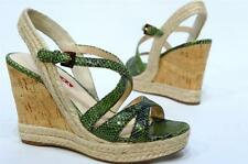 PRADA SNAKE EMBOSSED CORK WEDGE SANDALS SHOES GREEN 36/6 $490