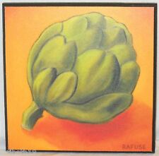 ARTICHOKE Rafuse Wall Decoration Plaque Wood Rich Clay Colors Green Mother's Day
