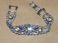 VTG 2 Tone Blue & White Givre Glass Leaf & Twisted Rhinestone Link Bracelet 7""