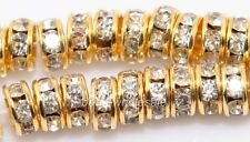 Hot 100pcs 6mm golden clear crystal rhinestone rondelle findings spacer beads