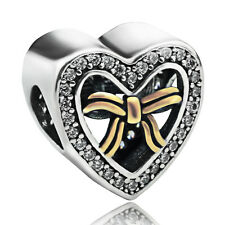 S925 sterling silver two tone Bound by Love heart Clear CZ fit European Charm