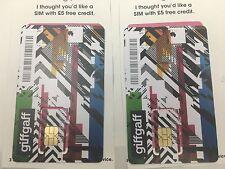 2 X Giffgaff - Nano / Micro / Standard  SIM Card Free UK delivrey + 5£ Free New