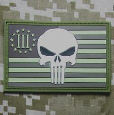 USA PUNISHER 3 PERCENTER DESERT US FLAG RUBBER 3D PVC GLOW GITD VELCRO PATCH