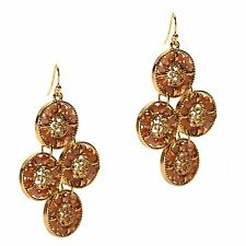 Chandelier Gold Fashion Dangle Earrings Rose Pink Blue Crystals Round Disks