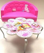 Barbie Furniture Couch Sofa & Flower Shaped Coffee Table Mattel Pink Dreamhouse