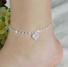 Sexy Fashion Crystal Rhinestone Love Heart Anklet Ankle Bracelet Chain Jewelry