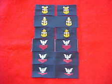US Navy - Assorted lot of embroidered patches E-4 to E-9 collar for coveralls