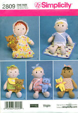 "SIMPLICITY SEWING PATTERN 2809 38CM/15"" CLOTH/RAG DOLL, CLOTHES & TOY CAT & BEAR"