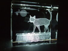 LASER CRYSTAL PAPERWEIGHT CAT ON ROOF 3640 NEW PRESENTATION BOXED
