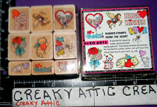 FROM THE HEART 9 RUBBER STAMPS HERO ARTS LL116 CAT MOUSE PEGASUS BALLOONS ROSES