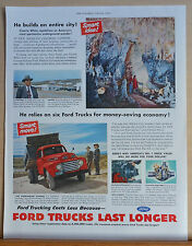 1950 magazine ad for Ford Trucks - Charlie White uses Fords for Carlsbad Caverns