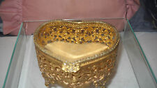 VTG BEVELED GLASS & BRASS HEART SHAPE  JEWELRY CASKET ORMOLU BOX
