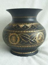 Black Cold Painted Bronze Hand Carved Vase. Middle Eastern Egyptian Asian Patter