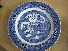 """ANTIQUE Homer Laughlin Blue Willow 9.5"""" Plate birds Pagoda J 49 N 6 marked dish"""