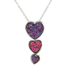TRIPLE HEART DRUZY RHODIUM NECKLACE-BRIDAL
