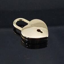 Padlock Lock Love Heart Pendant Charm Shiny Gold with key