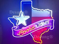 """New Coors  Light Texas Star Neon Sign 24""""x20"""" with HD Vivid Printing Technology"""