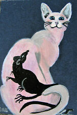 """ORIGINAL ACRYLIC ACEO PAINTING BY LJH  - """"TATTOO CAT""""   A307"""