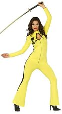 Ladies Sexy Yellow Ninja Jumpsuit Halloween Fancy Dress Costume Outfit 14-16-18