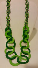 Gorgeous long green long leather link necklace