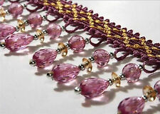 1m Curtain Sewing Tassel Fringe Trim Tassel Crystal bead Lace Accessory purple