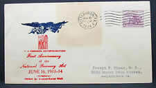 US Avalon Cachet Cover NRA Pittsburgh Determination Stamp 1934 USA Brief (H-7519