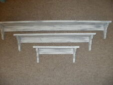 3-Piece White Weathered Look Shelf Set Primitive (Rustic) Wood