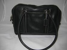 Vintage Coach Black Leather Hamptons Doctor Shoulder Bag Satchel Purse #7786