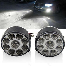 2pcs 9SMD 9 LED Round Daytime Driving Running Light DRL Car Fog Lamp Head Lights