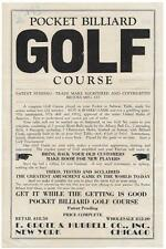 Flyer - Pocket Billiard Golf Course - F. Grote & Hubbell Co - New York & Chicago