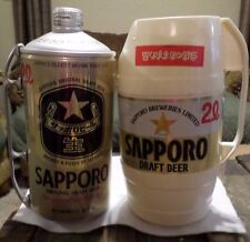 Lot of 2 Different 2 Liter Sapporo Draft Beer Can and Handled Mug