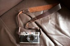 Handmade Real Leather camera neck strap for Film EVIL DSLR camera Brown 01-113