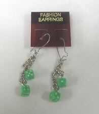 GREEN DOUBLE DICE EARRINGS , DANGLE STYLE