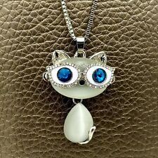 Wholesale Silver Glasses cat Crystal Sweater chain Charm necklace Pendants XL634
