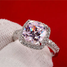 3ct Diamond Cushion Cut Engagement Ring Platinum Never Tarnish Finish Any Size