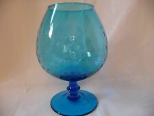 Collectible Decorative Vintage Optic Swirl Footed Blue Art Glass SNIFTER ~ 7""