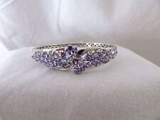 CAROL BRODIE RARITIES STERLING SILVER TANZANITE & DIAMOND BANGLE BRACELET