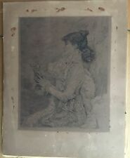 Ricardo De Los Rios Etching After J Bastien Lepage - Sarah Bernhardt, 19th Cent.